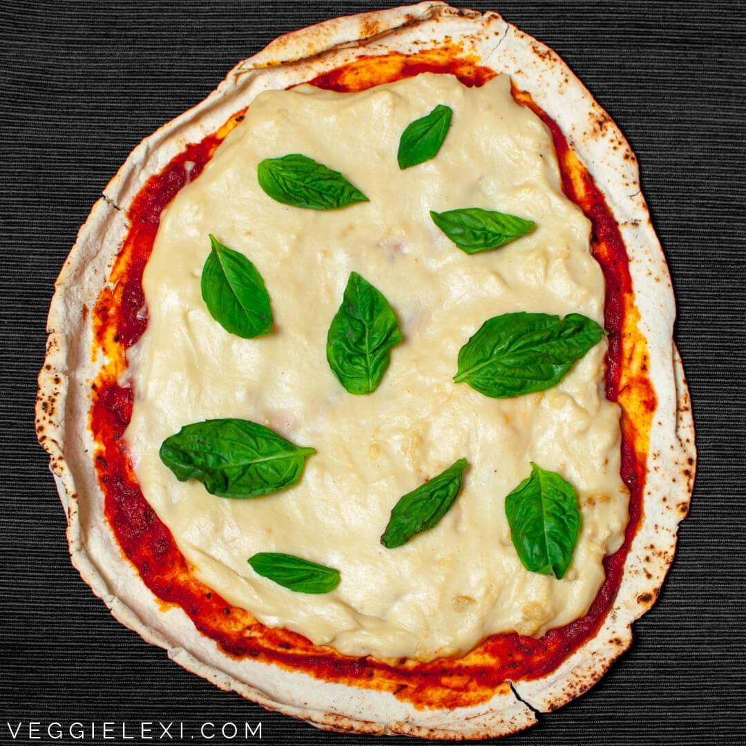 Vegan Pizza with Easy Oil Free Cashew Mozzarella and Basil